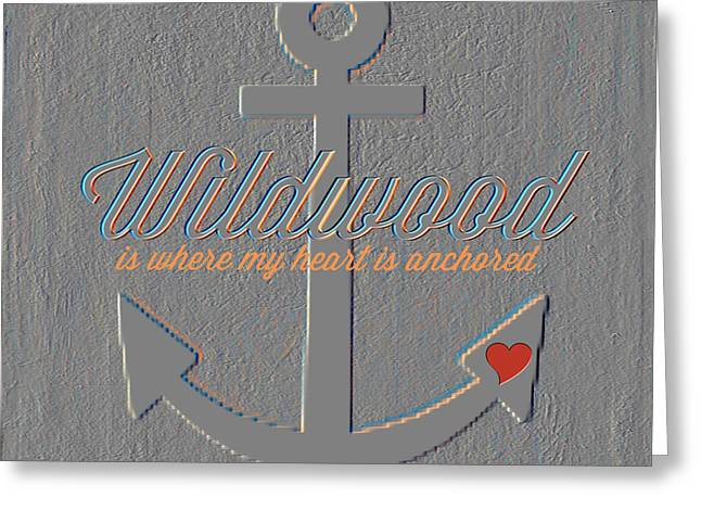 Wildwood Down The Shore Anchor Greeting Card by Brandi Fitzgerald