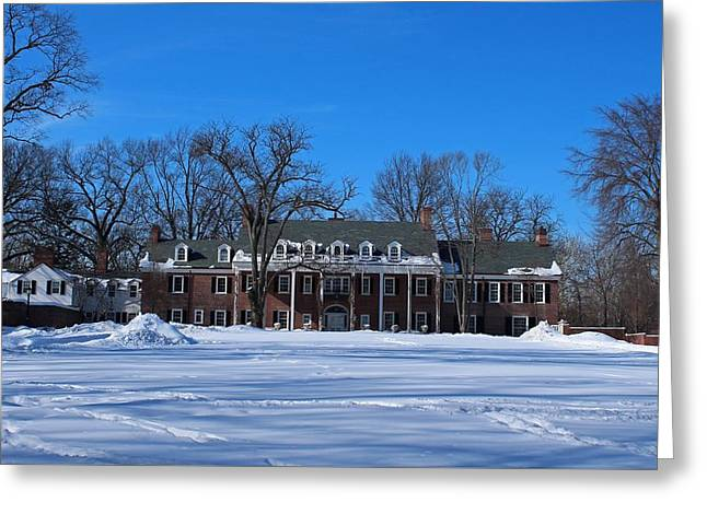 Greeting Card featuring the photograph Wildwood Manor House In The Winter by Michiale Schneider