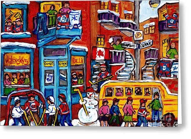 Wilensky Winter Wonderland Kids Hockey Fun Canadian Painting Montreal Art City Scene Art C Spandau Greeting Card