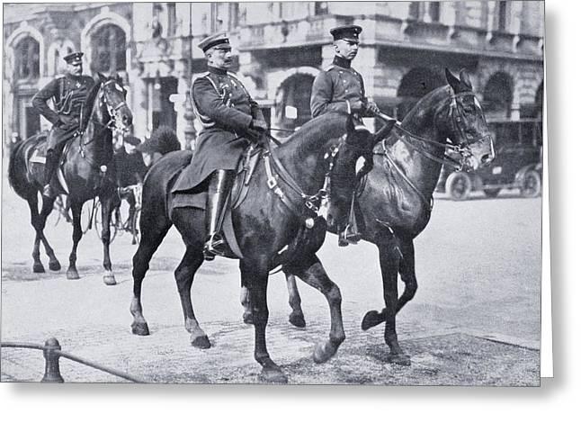 Berlin Germany Drawings Greeting Cards - Wilhelm Ii, Emperor Of Germany, Riding Greeting Card by Ken Welsh