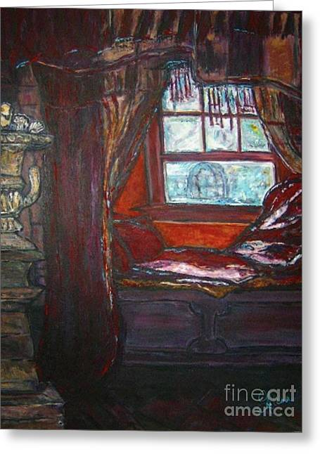 Greeting Card featuring the painting Wilhelmina's Windowseat by Helena Bebirian