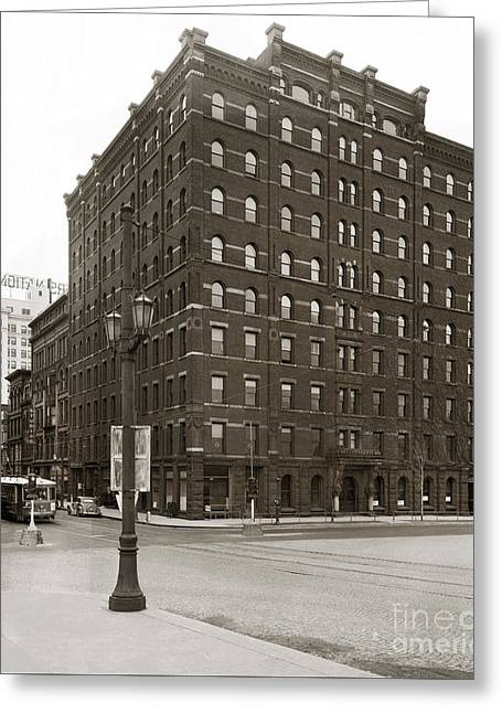 Wilkes Barre Pa Hollenback Coal Exchange Building Corner Of Market And River Sts April 1937 Greeting Card