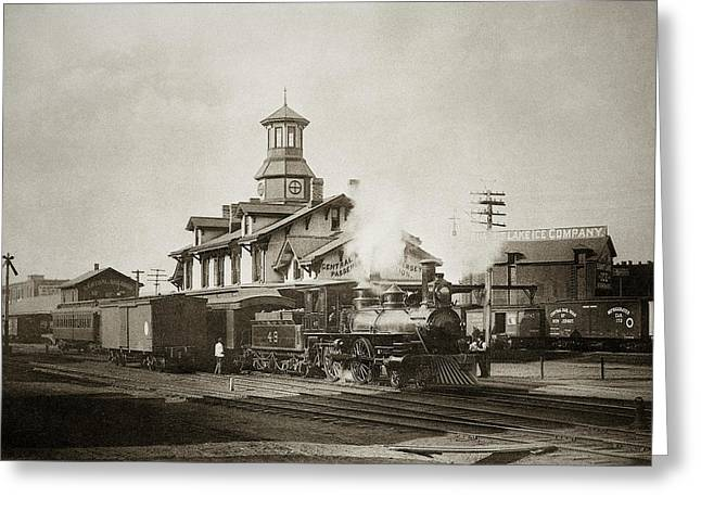 Anthracite Greeting Cards - Wilkes Barre PA. New Jersey Central Train Station Early 1900s Greeting Card by Arthur Miller