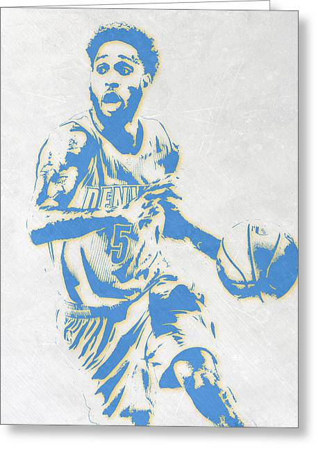 Will Barton Denver Nuggets Pixel Art Greeting Card by Joe Hamilton