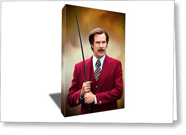 Will Ferrell As Anchorman Ron Burgundy Canvas Art  Greeting Card by Artwrench Dotcom