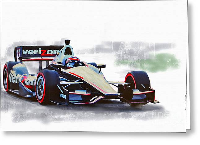 Will Power Indy Greeting Card by Roger Lighterness