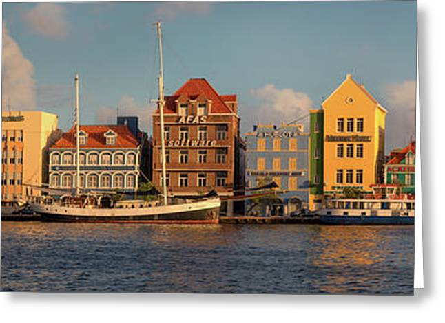 Willemstad Curacao Panoramic Greeting Card by Adam Romanowicz