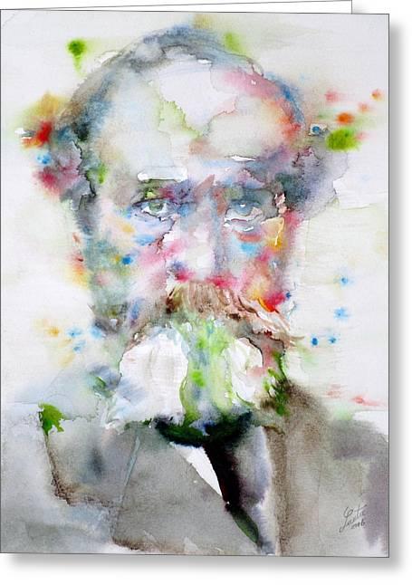 William James - Watercolor Portrait Greeting Card by Fabrizio Cassetta