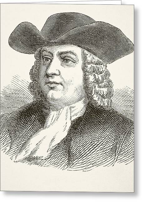 William Penn 1644 To 1718, English Greeting Card by Vintage Design Pics