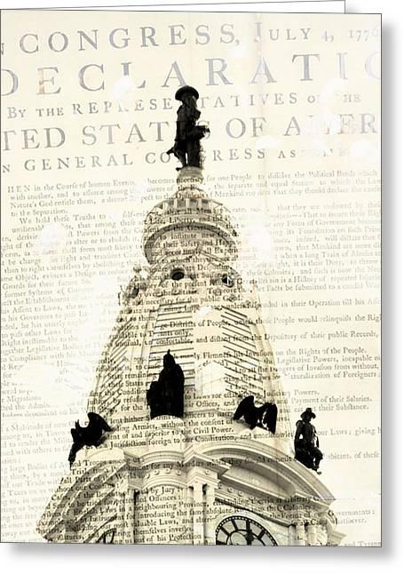 William Penn City Hall V1 Greeting Card by Brandi Fitzgerald