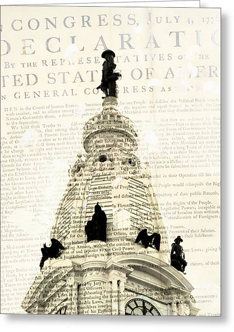 William Penn City Hall Greeting Card by Brandi Fitzgerald