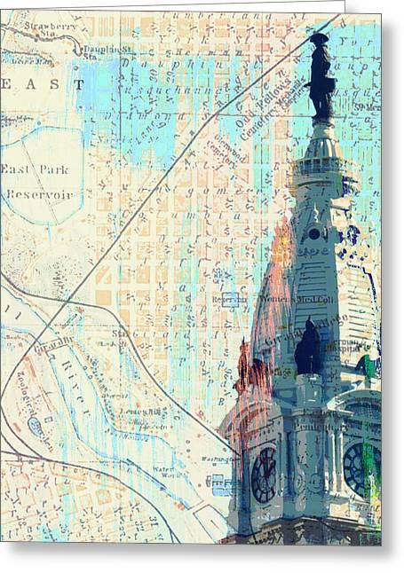 William Penn City Hall V2 Greeting Card by Brandi Fitzgerald