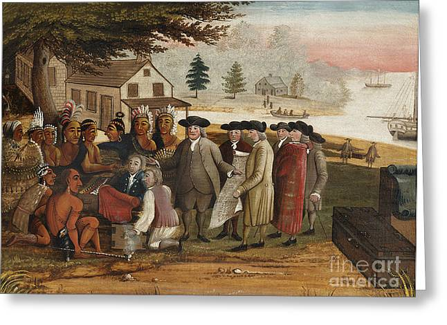 William Penns Treaty With The Indians Greeting Card