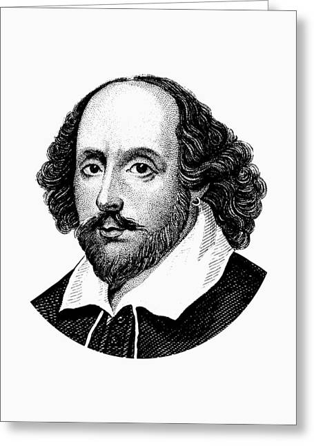 William Shakespeare - The Bard - Black And White Greeting Card