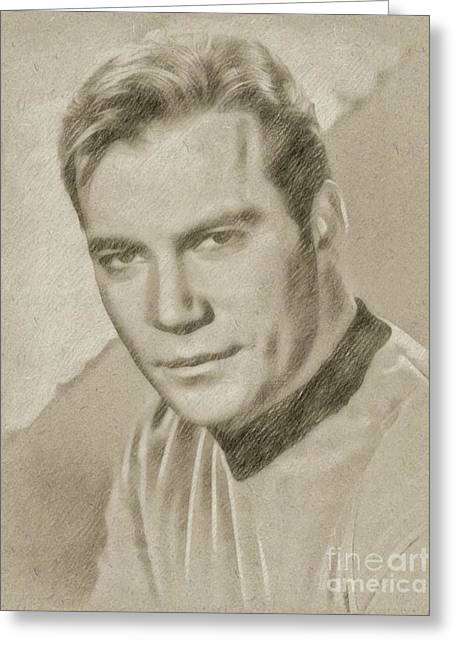 William Shatner Star Trek's Captain Kirk Greeting Card by Frank Falcon