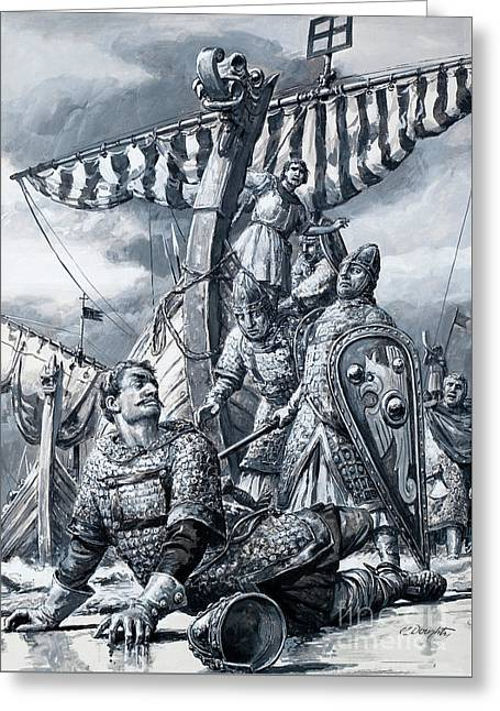 William The Conqueror Falls At Hastings Greeting Card