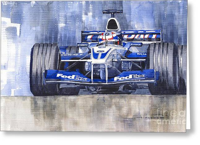 Williams Bmw Fw24 2002 Juan Pablo Montoya Greeting Card by Yuriy  Shevchuk