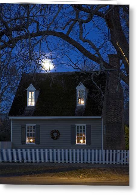 Williamsburg House In Moonlight Greeting Card by Sally Weigand