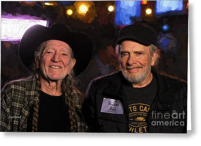 Willie Nelson And Merle Haggard Greeting Card by Garland Johnson
