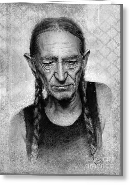 Willie Nelson Greeting Card by Andre Koekemoer