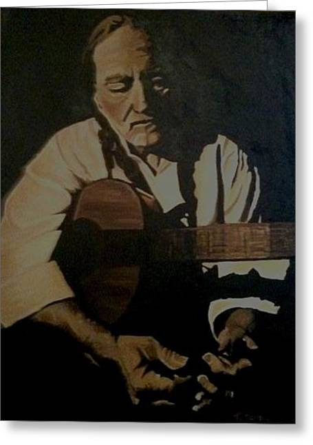 Greeting Card featuring the painting Willie Nelson by Ashley Price