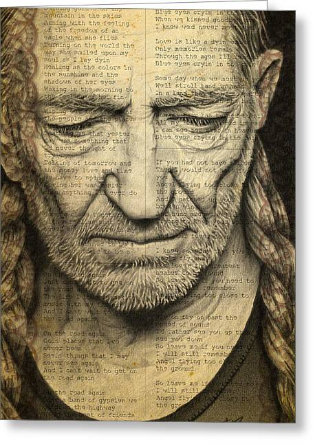 Willie Nelson Drawing Greeting Card by Jeffrey St Romain