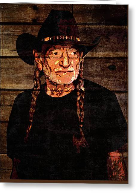 Willie Nelson Grunge Barn Door Greeting Card by Dan Sproul