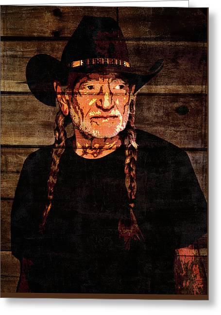 Willie Nelson Grunge Barn Door Greeting Card