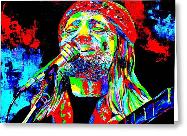 Willie Nelson Greeting Card by Mike OBrien
