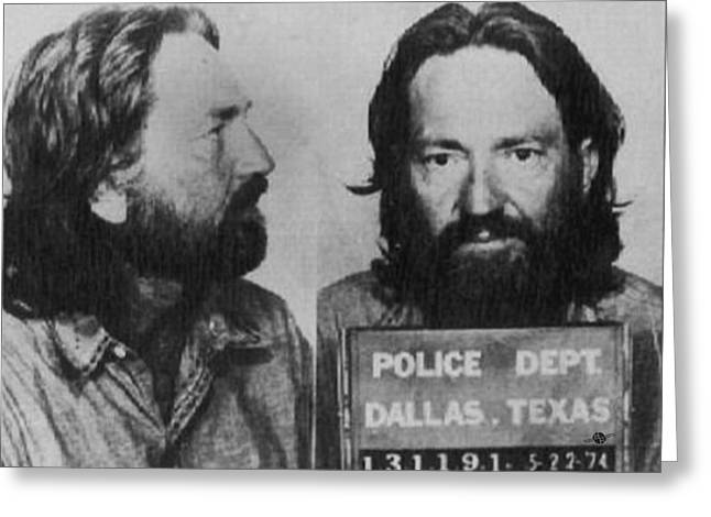 Willie Nelson Mug Shot Horizontal Black And White Greeting Card