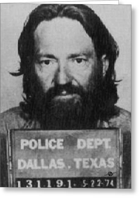 Willie Nelson Mug Shot Vertical Black And White Greeting Card