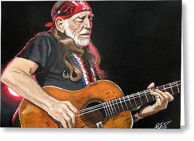 Willie Greeting Cards - Willie Nelson Greeting Card by Tom Carlton
