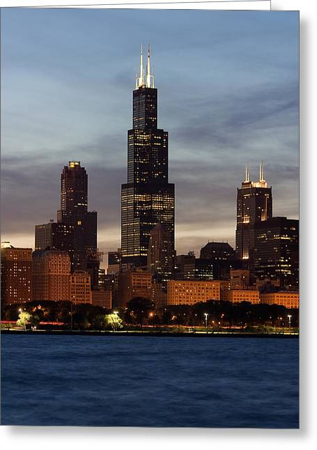 Willis Tower At Dusk Aka Sears Tower Greeting Card by Adam Romanowicz