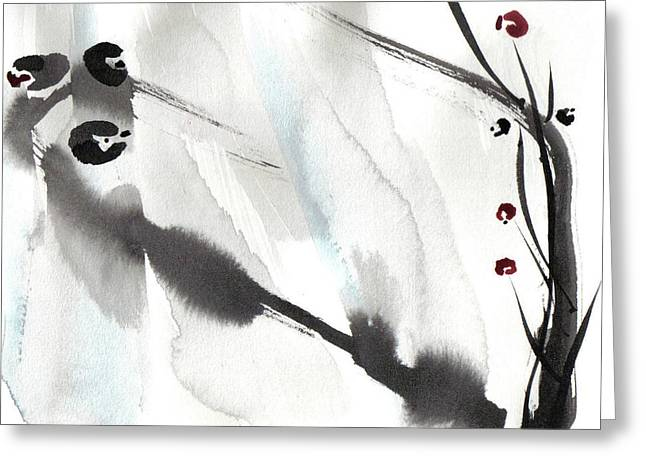 Sumi Greeting Cards - Willow Birds Greeting Card by Casey Shannon