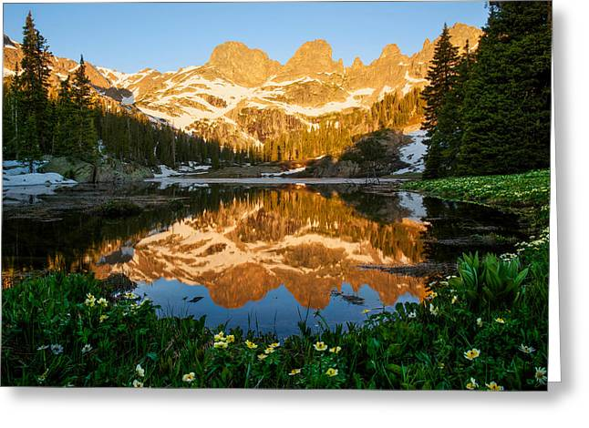 Willow Lake Sunrise Greeting Card by Aaron Spong