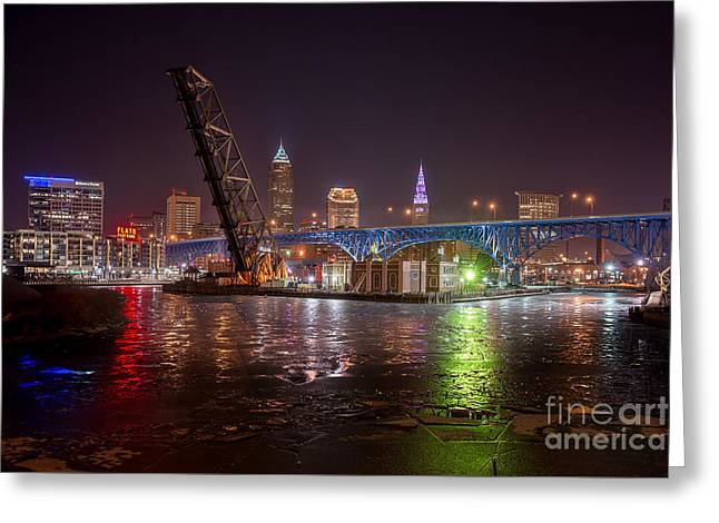 Willow Rd Bridge View  Greeting Card by Frank Cramer