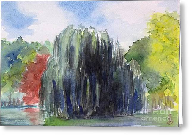 Willow Tree -2  Hidden Lake Gardens -tipton Michigan Greeting Card by Yoshiko Mishina