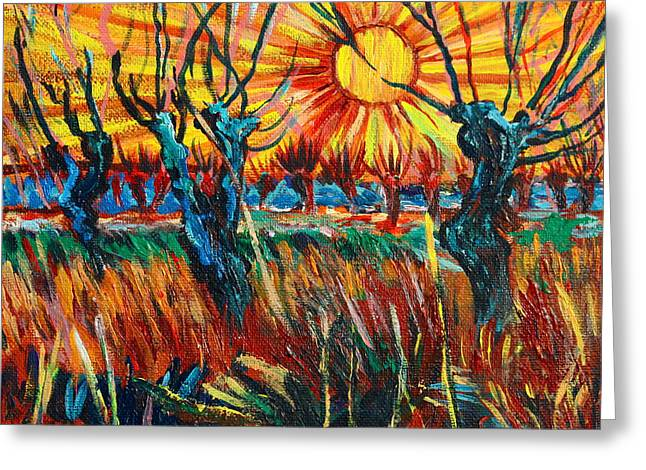 Willows At Sunset - Study Of Vincent Van Gogh Greeting Card