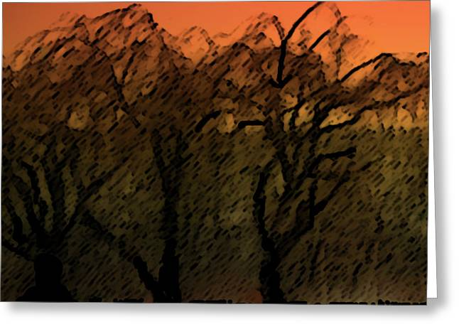 Willows Of Sunrise Greeting Card by Debra     Vatalaro