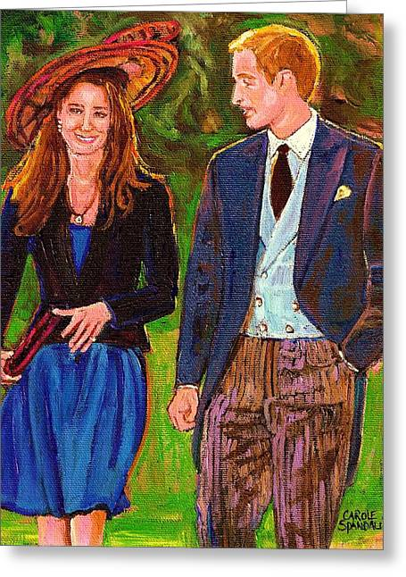 Kate Middleton Paintings Greeting Cards - Wills And Kate The Royal Couple Greeting Card by Carole Spandau