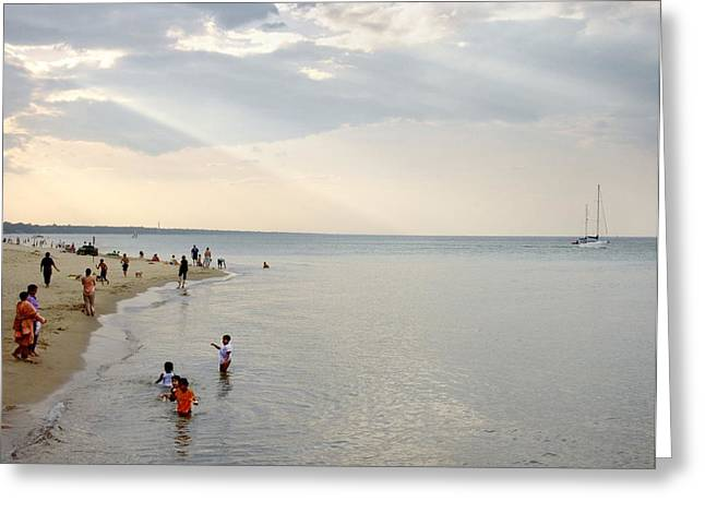 Wilmette Beach Labor Day 2009 Greeting Card by John Hansen