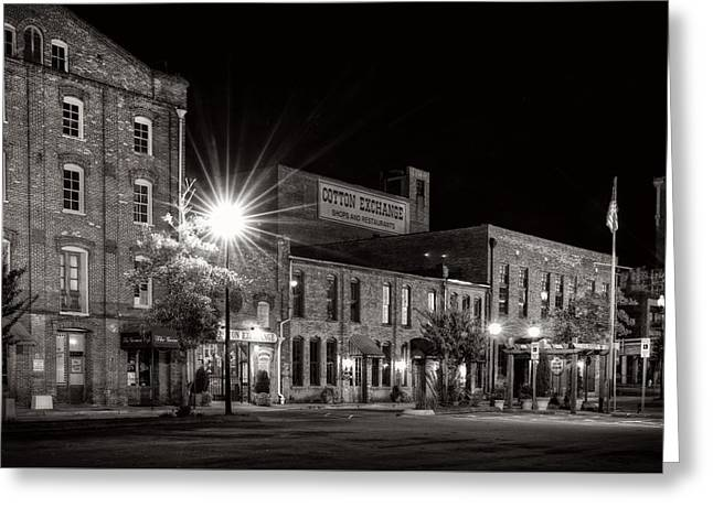 Wilmington Cotton Exchange At Night In Black And White Greeting Card by Greg Mimbs