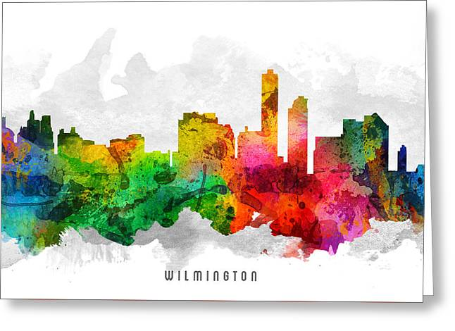 Wilmington Delaware Cityscape 12 Greeting Card by Aged Pixel