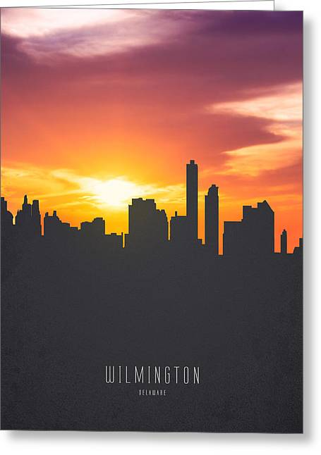 Wilmington Delaware Sunset Skyline 01 Greeting Card by Aged Pixel