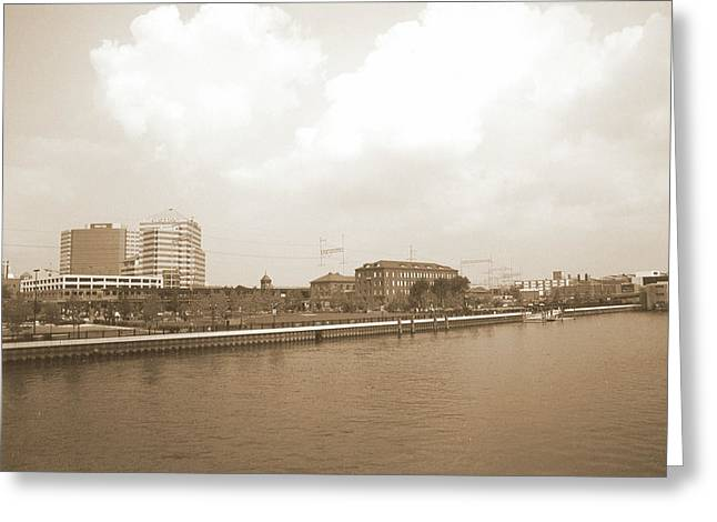 Wilmington Riverfront Retro Greeting Card