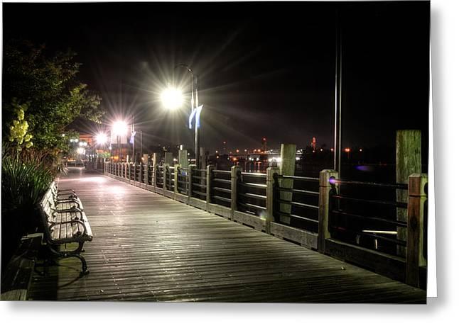 Wilmington Riverwalk At Night Greeting Card