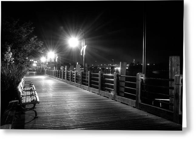 Wilmington Riverwalk At Night In Black And White Greeting Card