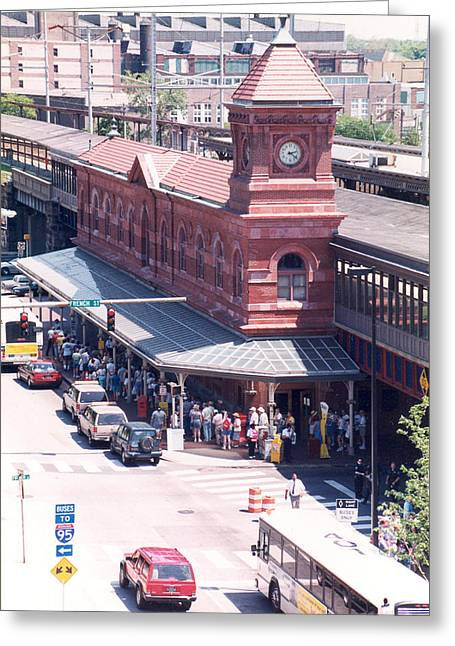Wilmington Train Station Clock Toweer Greeting Card