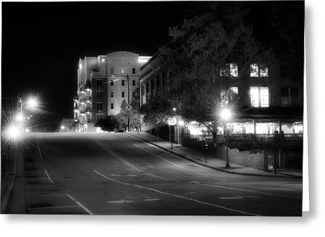 Wilmington's Walnut Street At Night Greeting Card by Greg Mimbs