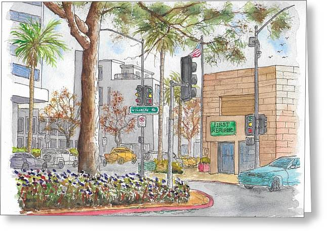 Wilshire Blvd. And Camden Dr., First Republic Bank In Beverly Hills, Ca Greeting Card